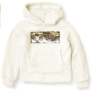 DKNY Girls' Hoodie Sequin Off White Size 7